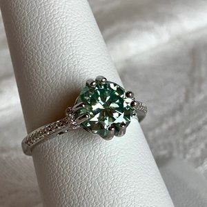 Jewelry - 2.4 Ct VVS1 Sky Blue Moissanite Ring, Sz 8